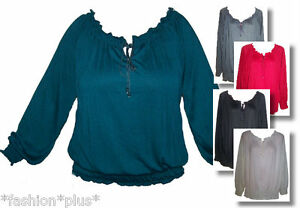 Plus-Size-Peasant-Top-Red-White-Green-Black-Grey-20-24-28-32-NWT