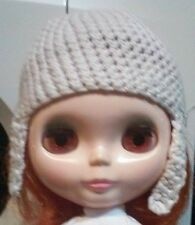 Blythe cute White knitted hat , dress ,  Outfit , doll not enclosed