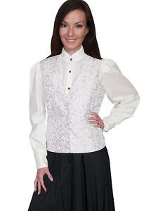 Scully-Rangewear-Women-039-s-Polyester-Scroll-Vine-Lapel-Vest-RW589
