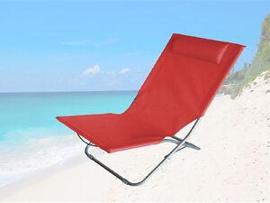 Garden Folding Outdoor Beach Red Recliner Lounger Chair Head Sun With Rest YprwxY