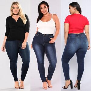 4743bdca06d Details about AU Women's Plus Size Stretch Denim Skinny Jeans Pencil Pants  High Waist Trousers