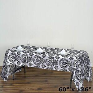 Admirable Details About 60X126 Black Flocking Damask Tablecloth Wedding Banquet Party Decor Download Free Architecture Designs Embacsunscenecom