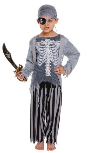 Kids Halloween Zombie Pirate Skeleton Bones Fancy Dress Outfit Costume New 4-12