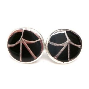 d16e53412 Image is loading Zuni-Handmade-Black-Onyx-Inlay-Sterling-Silver-Post-