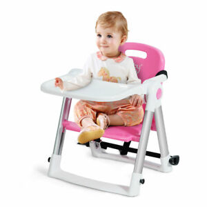 Baby Seat Booster Folding High Dining Chair W/ Safety Belt & Tray Portable Pink