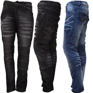 New-Mens-Boy-Motorbike-Motorcycle-Denim-Jeans-Slim-Trouser-Pants-with-Protectors