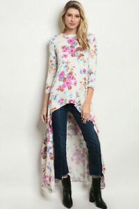 New-Annabelle-USA-Boho-Western-Floral-Colorful-Hi-Low-Maxi-Tunic-Top-S-M