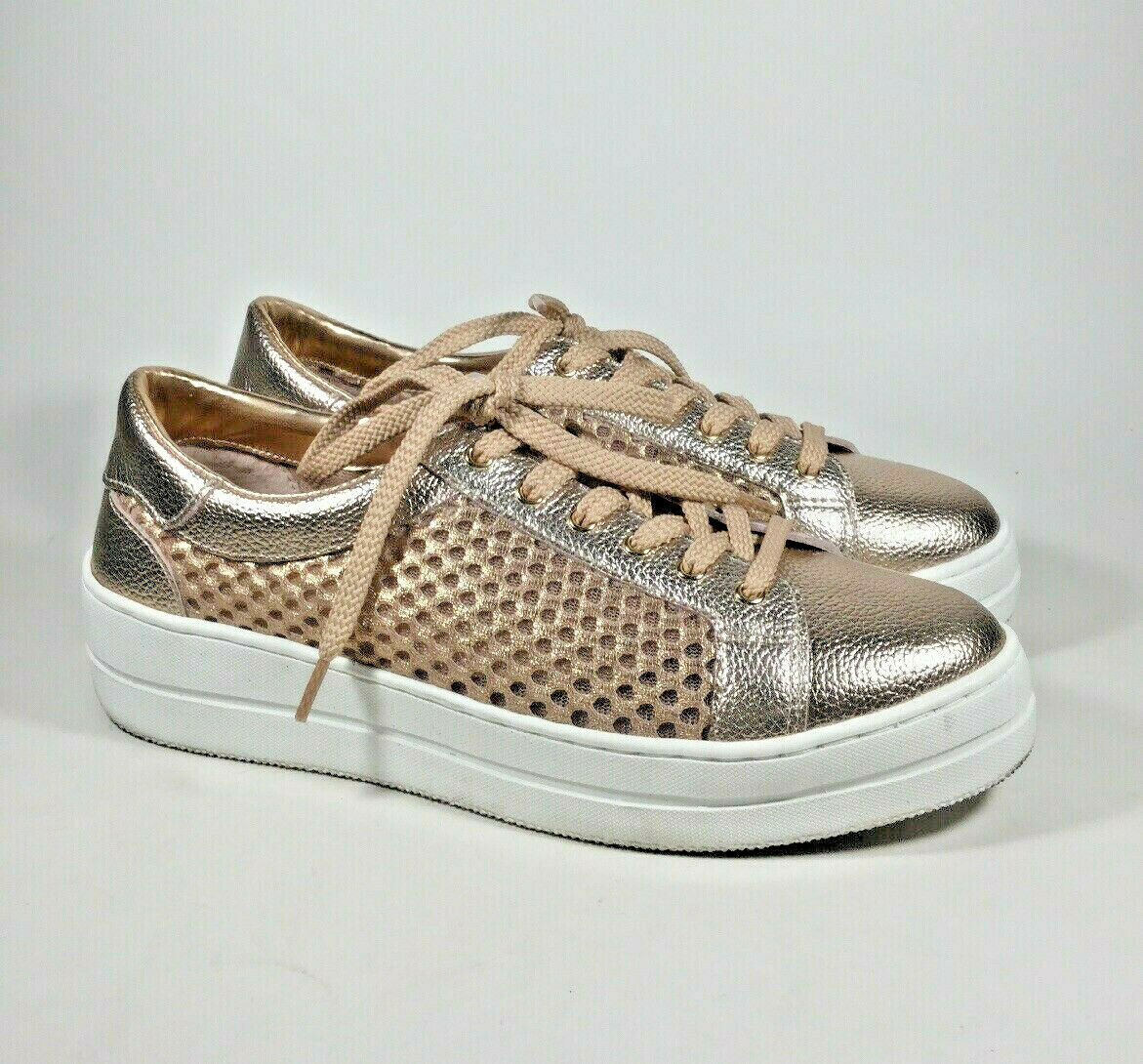 M4659 PreOwned Women's Steven Napa Leather Mesh pink gold Lace Up Sneaker US 8 M