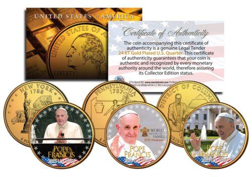 POPE FRANCIS *2015 U.S Visit* 24K Gold Plated Quarters 3-Coin Set Philadelphia