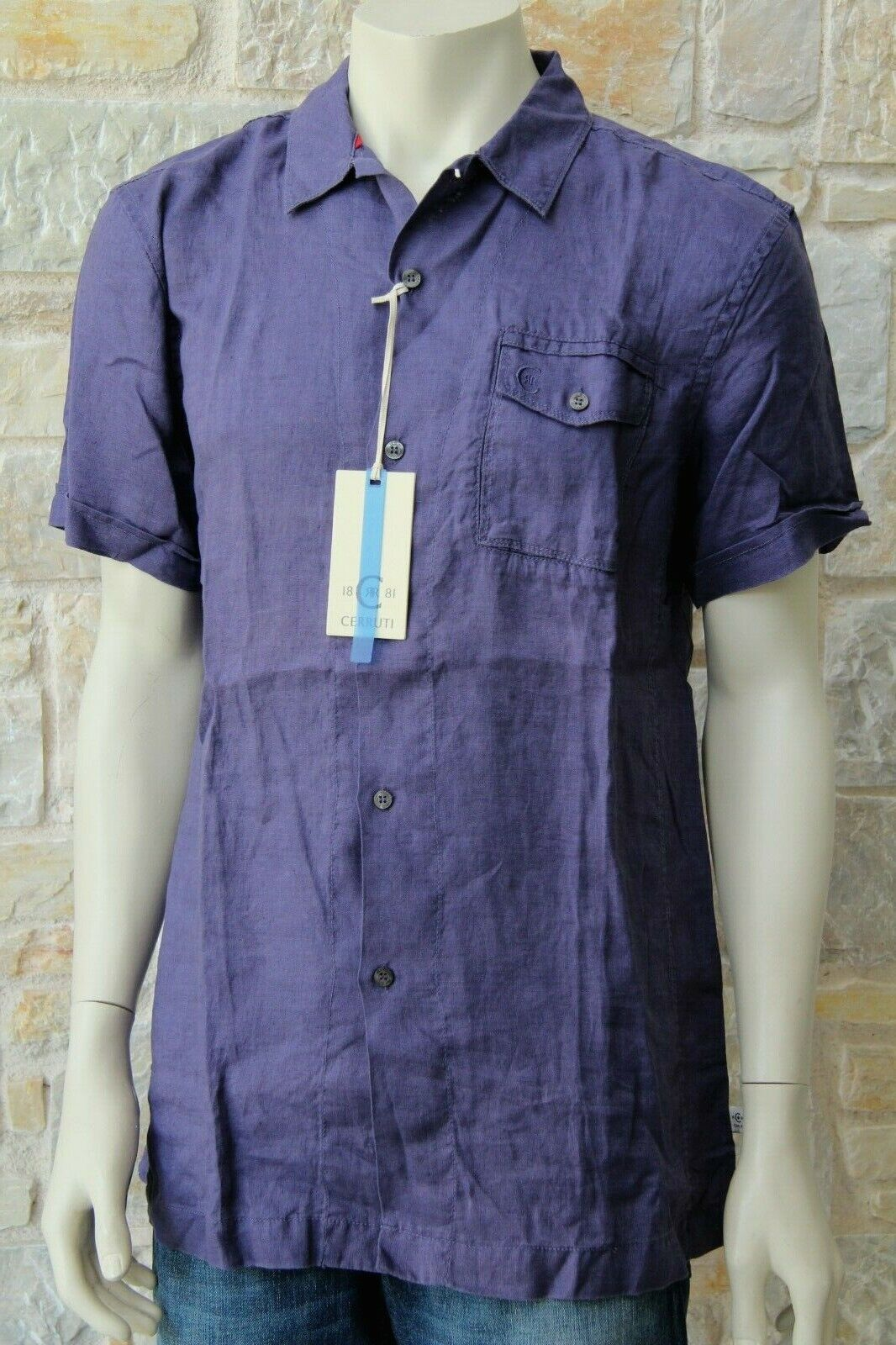 4eb73d5c6 CERRUTI 1881 Men's bluee Shirt 100% Linen Size L Free Shipping New with Tags