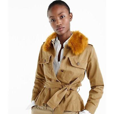 J.CREW Peplum Chino Jacket with Faux Fur Collar Ridge L Khaki H1641