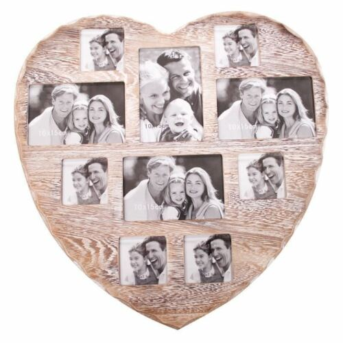 Shabby Chic Wall Heart 10 Photo Multi Picture Vintage Frame Rustic Home Kitchen
