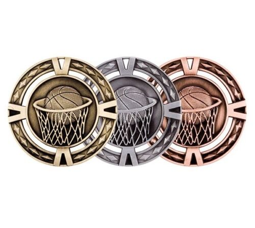 Moulded 60mm Basketball Medals & Ribbons Gold Silver & Bronze Optional Engraving