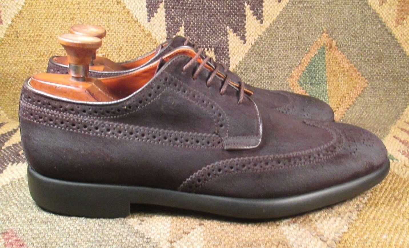 Campanile Brown Suede Pelle Wingtip Oxfords size  A-9.5 made in Italy 5fa4af