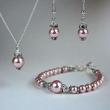 Pink blush pearl crystal necklace bracelet earring wedding bridal silver set