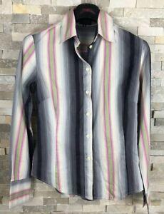 Paul-Smith-Black-Ladies-Size-40-Pink-Grey-Striped-Shirt-Blouse