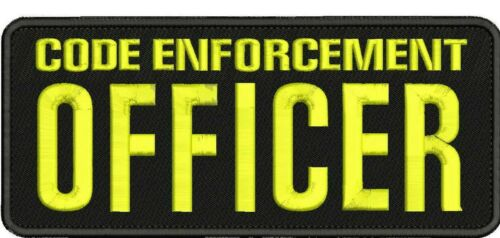CODE ENFORCEMENT OFFICER Embroidery Patches 4x10 HOOK ON BACK BLK//yellow