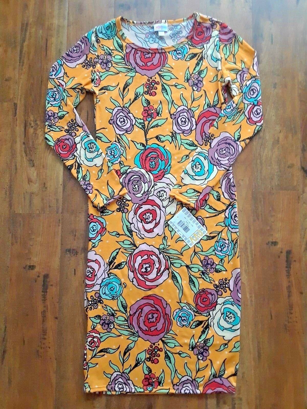 NWT LuLaRoe Debbie Dress Yellow Dots Teal Purple Red pinks XXS Extra Extra Small