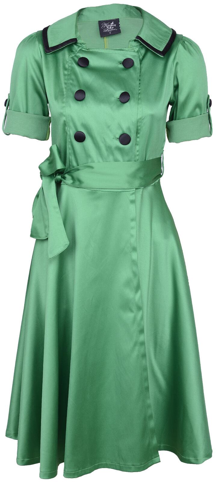 Küstenluder ELAINE Trenchcoat VINTAGE Button Swing Dress KLEID Grün Rockabilly