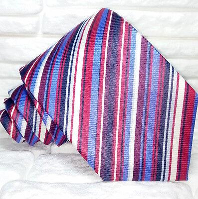 Bellissimo Cravatta 100% Seta Multicolore Business Informale Made In Italy Regimental
