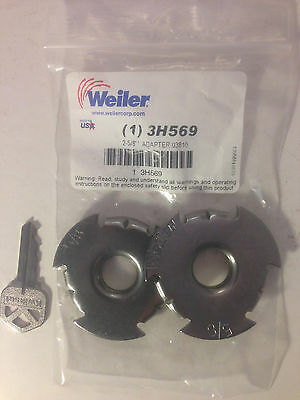 """Weiler Wheel Adapter  2/"""" Center Hole Reducer to 5//8/"""" Arbor Shaft for wire wheel"""