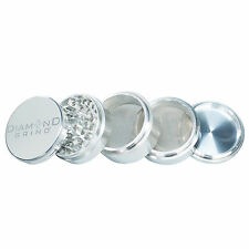 "CLASSIC DIAMOND GRIND 2.25"" Aluminum 5 piece herb Grinder 2 screens 56mm SILVER"