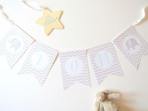 Nursery Christening Boy Baby Shower New Baby Gift Blue//Grey Elephant Bunting