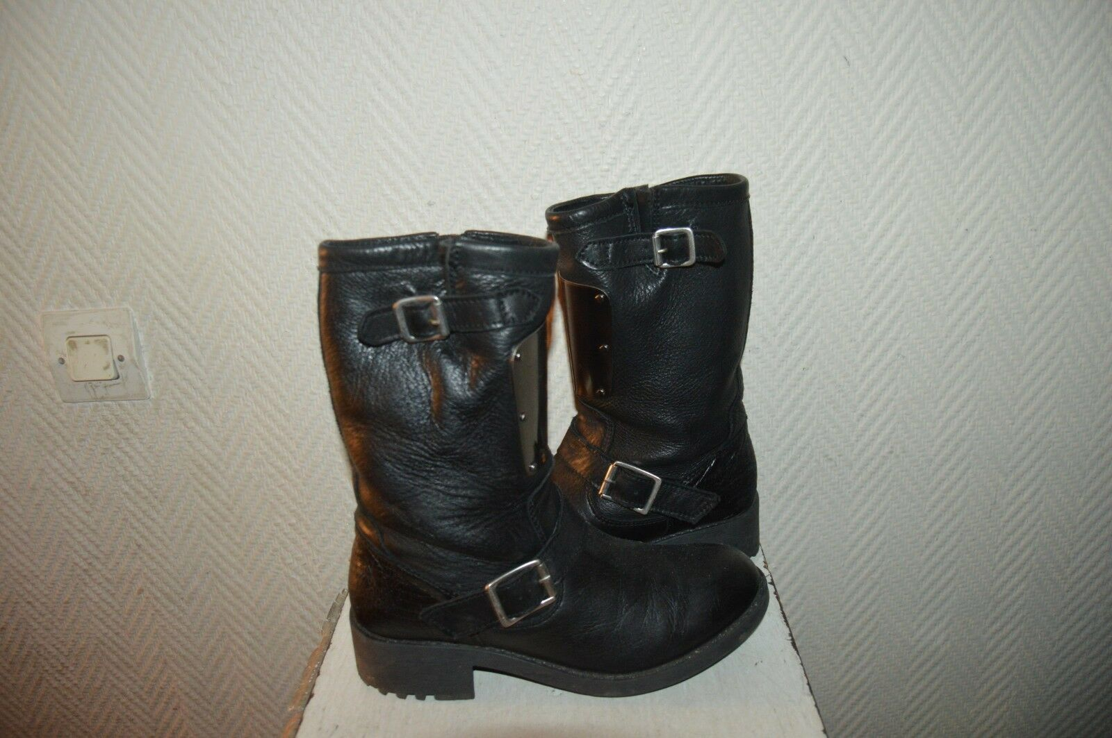 CHAUSSURE BOTTES CUIR METAL OAKSFIELD  size 37  LEATHER BOOTS BOTAS STIVALI