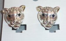Color argento & Diamante Leopardate/ Pantera Gatto / orecchini a Clip NUOVA