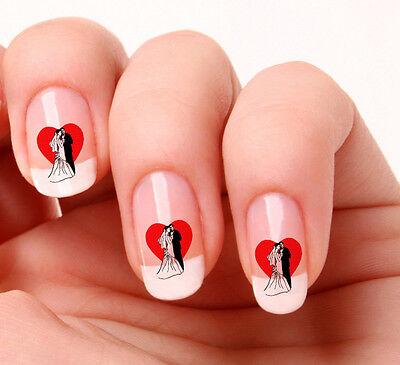 20 Nail Art Decals Transfers Stickers #352 - Wedding Bride & Groom