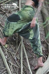 HonnêTeté Harem Hippie Pants Tie Dye Green Yoga Festival Loose Boho Festival Gypsy Aladdin-afficher Le Titre D'origine