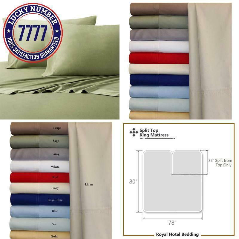 Royal Hotel Top-Split King  Adjustable Split Top King Sage Silky Soft Bed Sheets