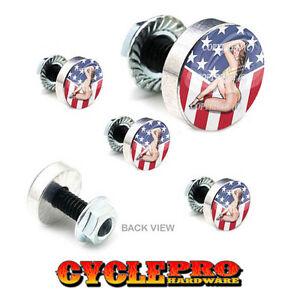 5 Pcs Billet Fairing Windshield Bolt Kit For Harley - GIRL USA FLAG - 173