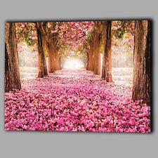 Gli alberi ROSA PETALI CANVAS A2 Grande Wall Art Picture Regalo Foglie Fiori Paesaggio