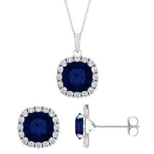 Silver 3.60 tcw. 6mm Cushion Created Sapphire Pendant & Earring Set
