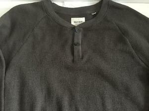 BILLY-REID-MENS-MELANGE-GRAY-THERMAL-TWO-BUTTON-HENLEY-SHIRT-SIZE-2XL
