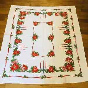 Vintage Christmas Tablecloth Poinsettias Sandlestick 50 W X 56 Rectangle Xmas Ebay