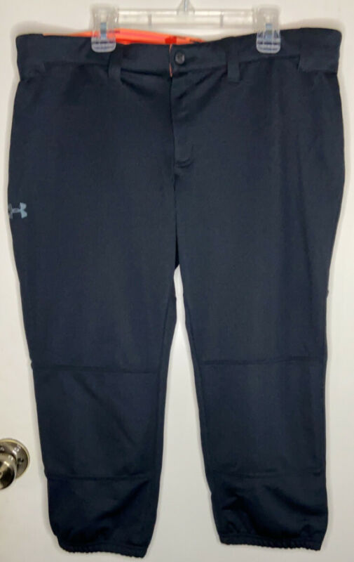 Under Armour Womans' Softball Pants Large Black Stretch Crop Active Sports
