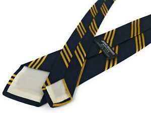 Vintage-BROOKS-BROTHERS-Tie-1950s-BB-1-Rep-Stripe-Navy-Blue-Gold-Necktie