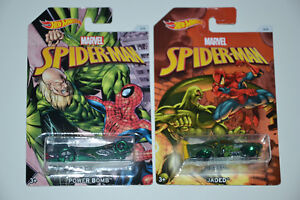 2-x-HOT-WHEELS-SPIDERMAN-CARS-1-64-MARVEL-POWER-BOMB-depresso-corretto-Set