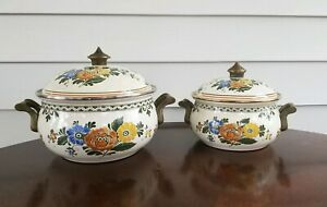 2-Vintage-ASTA-Germany-Enamelware-Cookware-Floral-Dutch-Oven-Pot-w-Lid