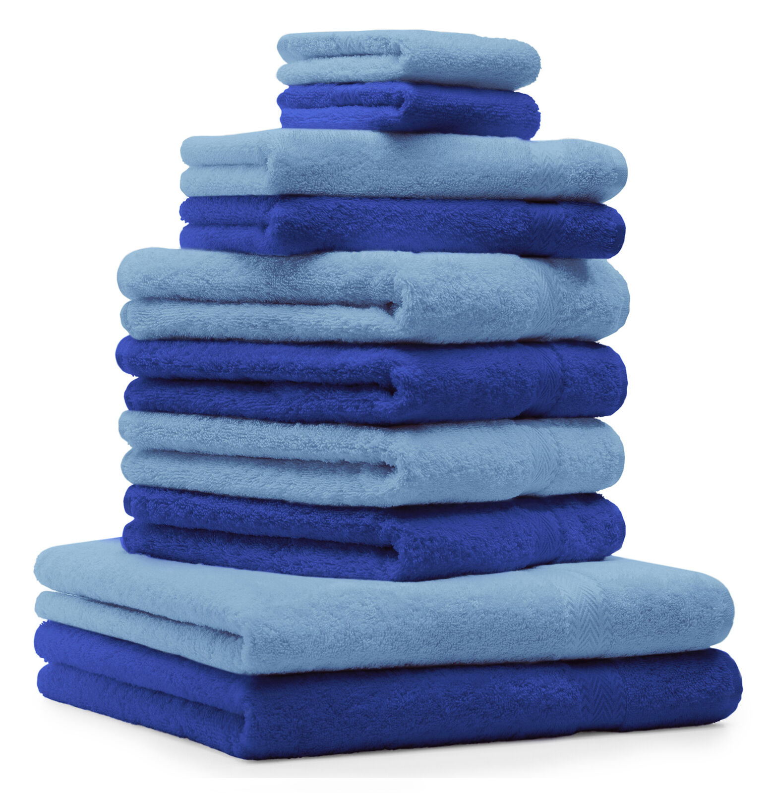Betz 10-tlg. Handtuch Set Classic Farbe Royalblau & Hellblau     | Günstigen Preis