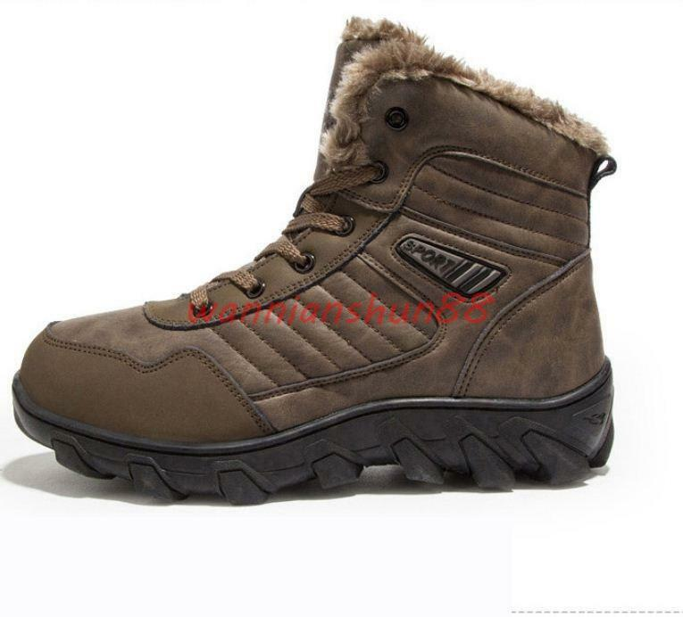 New Men's casual lace up winter fur lined snow ankle boots leather hiking shoes