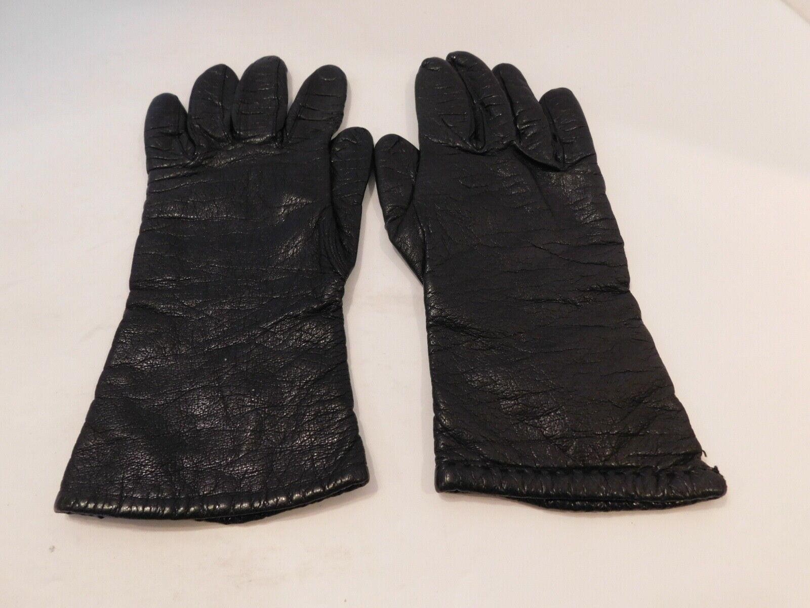 * SAKS FIFTH AVENUE femme en cuir Noir Hiver Gants Cachemire Doublure Taille 6.5