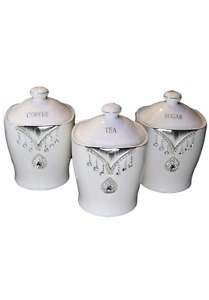 Image Is Loading New White Tea Coffee Sugar Canisters Diamante Crystals