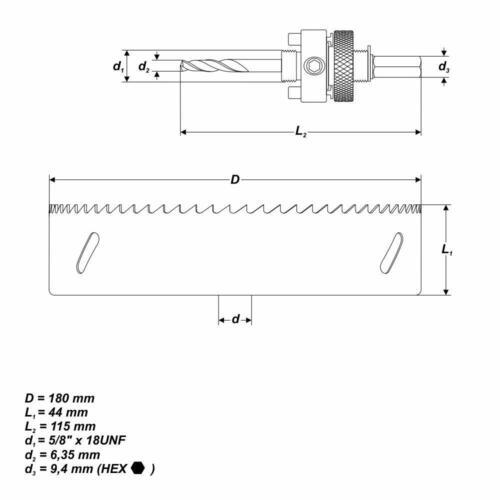 """BiM Lochsäge Ø 180 mm 7-3//32/"""" Bohrkrone mit Zentrierbohrer für Holz Inox"""