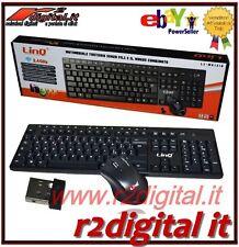 KIT TASTIERA MOUSE MK1318 WIRELESS 2.4GHz MULTIMEDIALE SLIM WIFI USB PC LASER