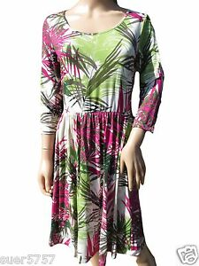 NEW-Ex-M-amp-S-Floral-Jersey-Multi-3-4-Sleeve-Knee-length-Summer-Dress-Size-10-20