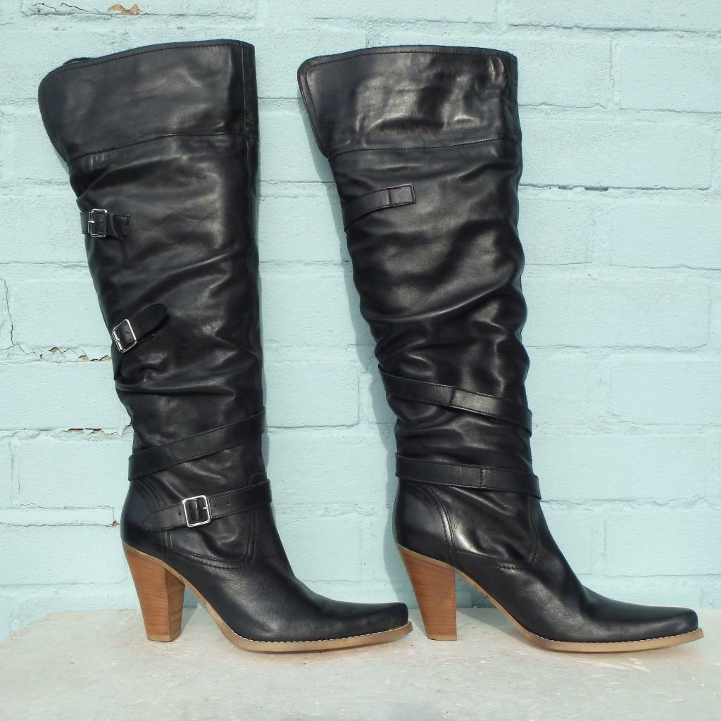 River Island Leather Boots Size Uk 5 Eur 38 Womens Buckles Pull on Pirate Black