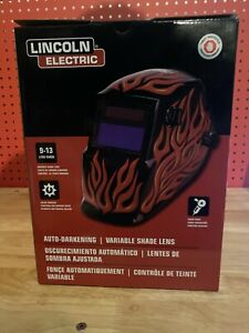 Variable Shade 9-13 Auto Darkening Lens Lincoln K3446-1 Red Steel Helmet
